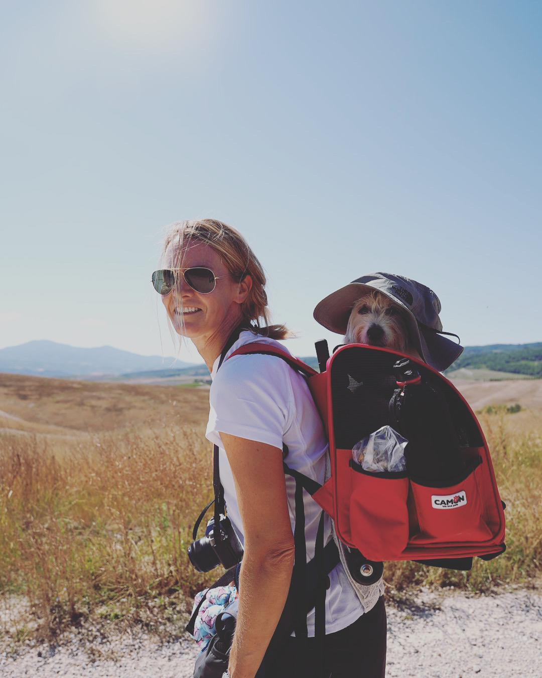 Maia and me hiking in a very hot day
